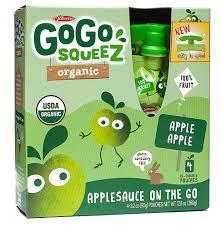 gogo squeez organic applesauce on the