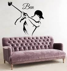 Golf Player Custom Name Decal Wall Sticker Decal Home Decor Tiptophomedecor