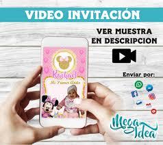 Video Invitation Minnie Gold Etsy