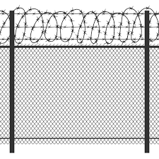 Prison Privacy Metal Fence With Barbed Wire Vector Seamless Black Silh By Microvector Thehungryjpeg Com