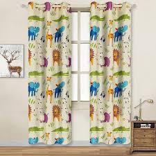 Cute Kids Room Nursery Boys Toddler Curtains Colorful Giraffe Elephant Drapes
