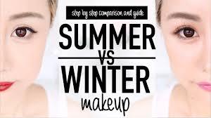 summer vs winter makeup before after