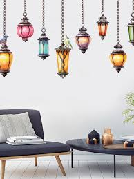 Buy 1pc Wall Sticker Retro Style Pendant Light Picture Living Room Bedroom Removable Wall Decal Home Decor Wall Sticke