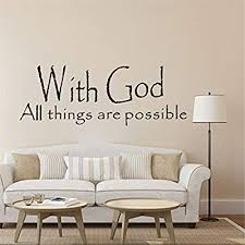 Amazon Com Jeash Wall Stickers With God All Thing Are Possible English Language Wall Sticker Removable Art Home Wall Stickers Bedroom Living Room Decoration Room Background Decoration Diy Decals A Home Kitchen