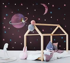 Colorful Space With Cute Little Girl On The Saturn Rings And Pink Moon Wall Decal Sticker Wall Decals Wallmur