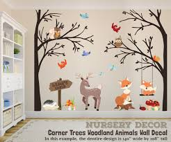 Woodland Nursery 2 Corner Trees Decor Wall Decal Trees Fox Etsy Woodland Creatures Nursery Nursery Wall Decals Woodland Animal Nursery