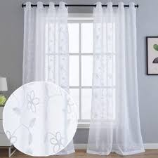 Amazon Com Kotile White Floral Embroidered Semi Sheer Short Curtains For Kids Room Fashion Leaf And Branch Design Grommet Window Treatmet Drapes For Bedroom 52 X 63 Inch 2 Panels Home Kitchen