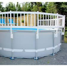 The Vinyl Works Above Ground Pool Fence Kit 8 Sections In Taupe Ne1331 The Home Depot Above Ground Pool Fence Above Ground Pool Above Ground Pool Decks