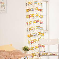 Kids Curtains Yellow Trains Pattern Print Cotton Room Darkening