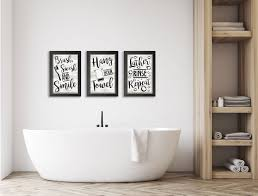 Gango Home Decor Bathroom Rules Typography Wall Art Three Black White 12x18in Art Prints In Black Frames Walmart Com Walmart Com