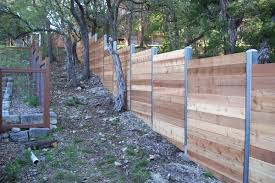 Wood Fences Gallery Viking Fence Custom Horizontal Steel Posts Sloped Ground Fence Design Diy Privacy Fence Steel Fence Posts
