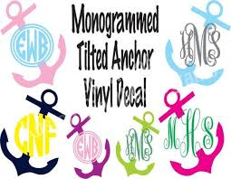 Monogrammed Tilted Anchor Vinyl Decal Personalized Vinyl Sticker Computer Decal Wall Vinyl Phone Monogram Decal Car Monogram Gift Vinyl Decals Monogram Decal Wall Decals
