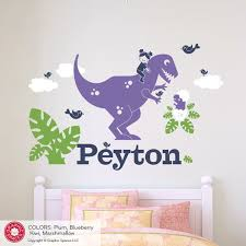 T Rex Dinosaur Wall Decal Girl Name Personalized Cute Dino Etsy