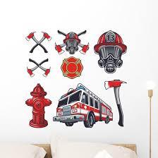 Firefighter Elements Wall Decal Sticker Set Wallmonkeys Com