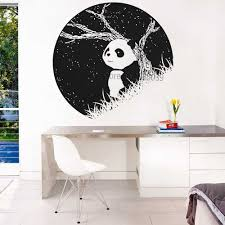 Panda At Night Night Scene Vinyl Wall Sticker Bedroom Dorm Household Wall Art Decor Murals Removable Unique Wallpapers New Lc814 Wall Stickers Aliexpress