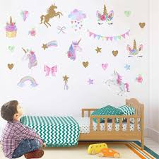 Unicorn Horse Stars Wall Stickers For Kids Rooms Girls Bedroom Decor Diy Poster Cartoon Animal Wallpaper Stickers On The Wall Aliexpress