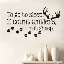 Amazon Com Decorate Life To Go To Sleep I Count Antlers Not Sheep Wall Decal Sticker Quote Art Vinyl Decor Removable Pvc Decoration For Bedroom Kitchen Dining