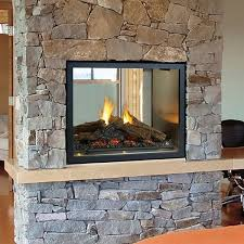 statuette of double sided gas fireplace
