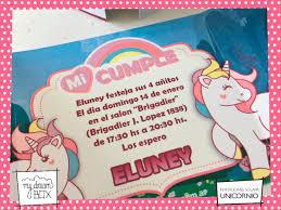 Tarjetas Invitacion Solapa Evento Cumple Infantil Unicornio