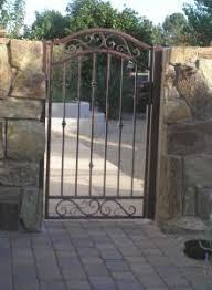Wooden Pedestrian Gate To Decorative Wrought Iron Gates 4 Rail Full Bell Arch Pedestrian Gate Iron Garden Gates Iron Gates Wrought Iron Gate Designs