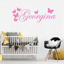 Beautiful Butterflies Custom Name Wall Decals Personalised Girl Name Decor Kids Bedroom Nursery Living Room Art Removable Eb644 Wall Stickers Aliexpress