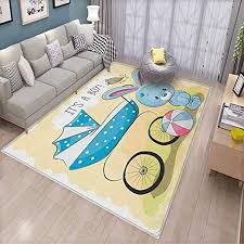 Amazon Com Gender Reveal Non Slip Mat Cute Bunny Baby Carriage And Ball Its Boy Message Kids Design Can Be Used For Floor Decoration 6 6 X10 Avocado Green And Blue Kitchen Dining