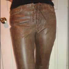 brown genuine leather bootcut pants