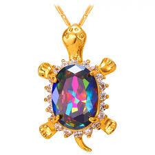 big crystal turtle pendant necklace 18k