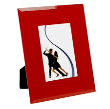 red bevelled glass photo frame 26cm x