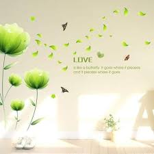 Shop Beautiful Green Flowers Wall Decals Living Room Bedroom Removable Wall Stickers 23 X 35 Wall Vinyl Overstock 18216376