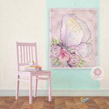 Ethereal Lace Butterfly Baby Nursery Wall Art Print Boho Shabby Chic B Pink Forest Cafe