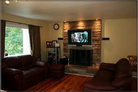 flat screen tv over a fireplace think
