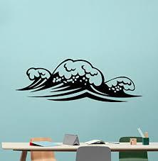 Sea Waves Wall Decal Sea Vinyl Sticker Ocean Marine Nautical Bathroom Wall Art Decor Design Bathroom Decal Housewares Bedroom Bohemian Decor Removable Wall Mural 122xxx Amazon Com