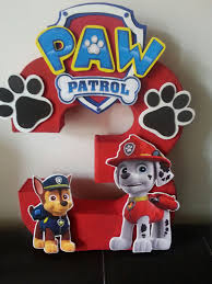 Paw Patrol Number Centerpiece By Waacreations On Etsy Cumpleanos