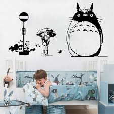 Japanese Wall Sticker Totoro Anime Decal Nursery Wall Decor Kids Room Decoration Cartoon Childlike Mural Accompany Wall Stickers Aliexpress