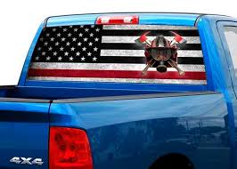 Product Us Firefighter Usa Flag Rear Window Graphic Decal Sticker Truck Suv Pick Up