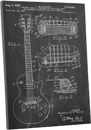 Amazon Com Pingo World 0609qswm5jy Gibson Les Paul Guitar Patent Gallery Wrapped Canvas Print Bonus Wall Decal 30 X 20 Variable Posters Prints