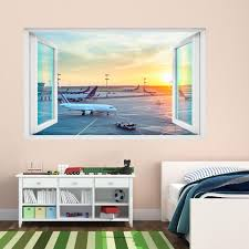 Airplane Airport Sunset Wall Sticker Mural Decal Poster Print Etsy