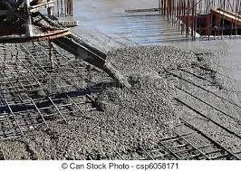 Pouring concrete at construction site.