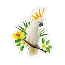 Parrot Cockatoo Sticker Tropical White Bird Flowers Laptop Decal Viny Starcove Fashion