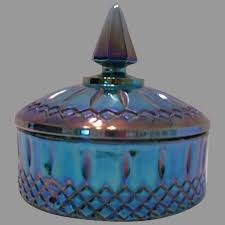 carnival glass blue candy dish indiana