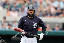Detroit Tigers Austin Romine prepares bat during Editorial Stock ...