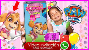 Skye Paw Patrol Video Invitacion Cumpleanos Whatsapp Youtube