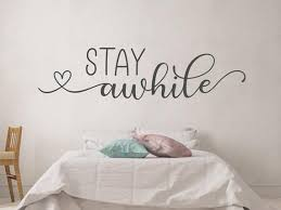 Stay Awhile Wall Decal Guest Room Wall Decal Stay Awhile Etsy In 2020 Wall Decals Initials Wall Decal Wall Letter Decals