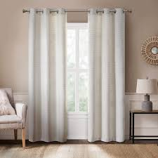 Amazon Com Hyde Lane Modern Farmhouse Curtains For Living Room Rustic Dining Room Decor Grasscloth Faux Linen Room Darkening Grommet Top Window Treatments White 40x84 Inches 2 Panels Kitchen Dining