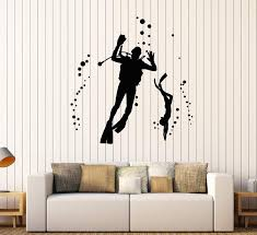 Vinyl Wall Decal Scuba Diving Underwater Diver Bubbles Stickers Unique Wallstickers4you