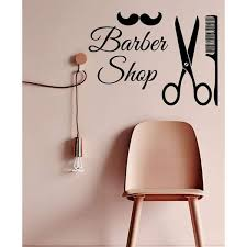 Shop Men Barber Shop Interior Design Art Scissors Comb Mustache Beauty Salon Vinyl Sticker Decor Sticker Decal Size 22x26 Color Black Overstock 14732652