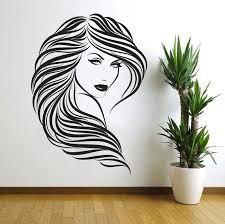 Beauty Hair Salon Wall Decal Decor Curly Hair Woman Face Vinyl Wall Art Sticker Salon Wall Art Girls Wall Stickers Hair Salon Decor