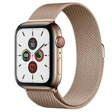 Apple Watch Series 5 GPS + Cellular, 44mm Gold Stainless Steel Case with  Gold Milanese Loop - Apple