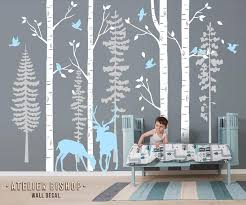 Deer In The Pine Tree Forest Nursery Wall Decal Pale Blue Etsy
